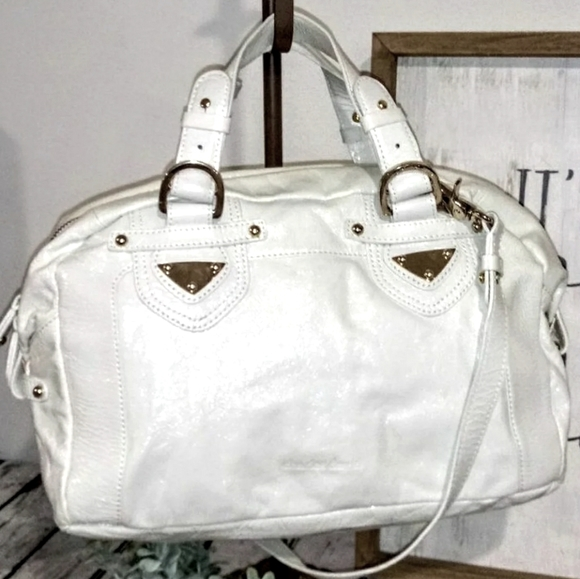 Charles David White Leather Satchel Shoulder Bag